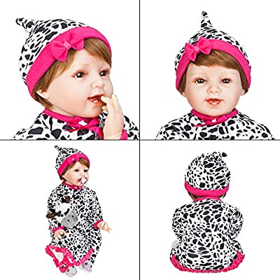 JOYMOR 22 Inch Reborn Baby Doll Birthday Gift Silicone Vivid Baby Washable Soft Body Lovely Simulation Fashionable Reborn Vivid Baby Doll (Cow Pattern Clothes ): Toys & Games