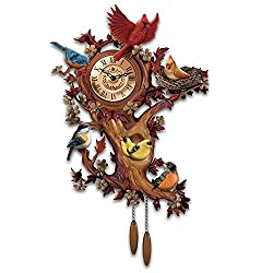 Treetop Chorus Songbird Sculptural Wall Clock With 7 Birds by The Bradford Exchange