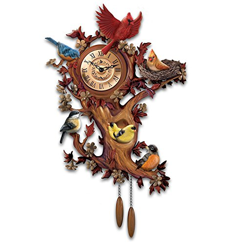 Clock Bluebird (Treetop Chorus Songbird Sculptural Wall Clock With 7 Birds by The Bradford Exchange)