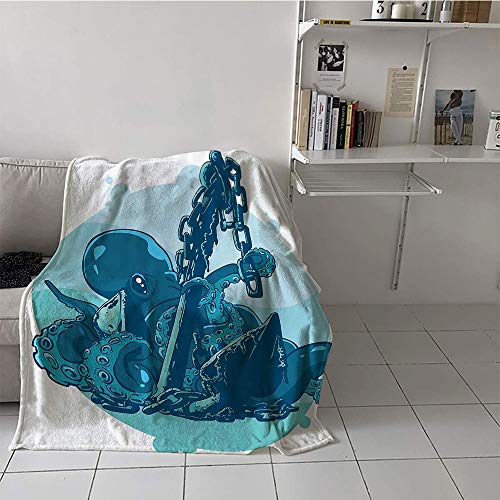 Children's Blanket Boys Microfiber All Season Blanket (60 by 62 Inch,Octopus Decor Collection,Monster Kraken Octopus with Tentacles on Anchor in Ocean Retro Style Art Illustration,Blue White]()