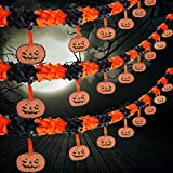 Jetec 3 Packs Halloween Pumpkin Banner Halloween Paper Garlands Decoration Prop, Total 30 Feet Long