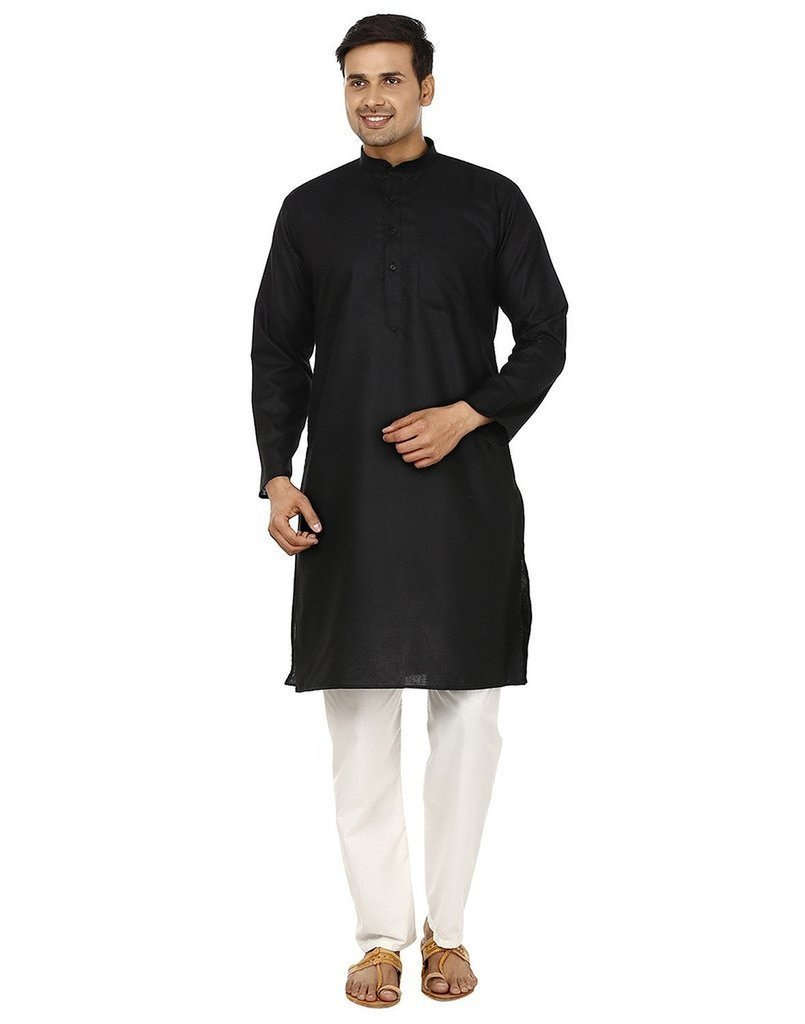 Royal Kurta Men's Superfine Linen Kurta Pyjama Set 42 Black