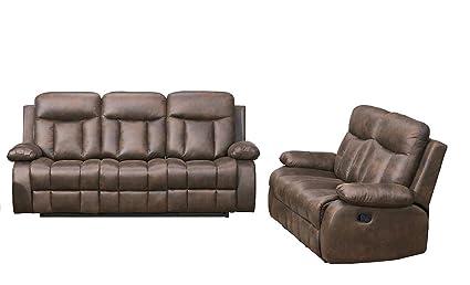 Amazon.com: Betsy Furniture 2-PC Microfiber Fabric Recliner Set ...