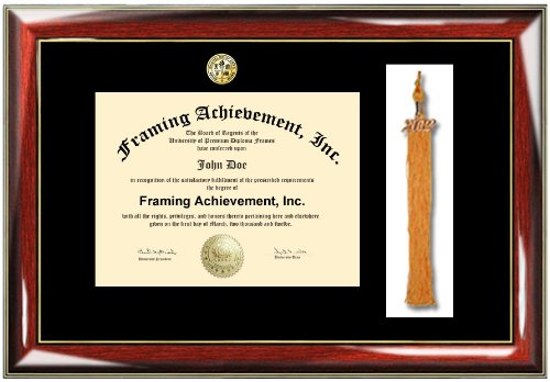 Tassel College Diploma Frame - Premium Glossy Prestige with Gold Accents University Diploma Frame - Choice of College Major Gold Seal Insignia - Single Black Matted - University Degree Frame