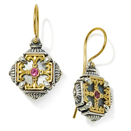(Konstantino 925 Sterling Silver & 18k Gold, Mother of Pearl, Pink Tourmaline Earrings)