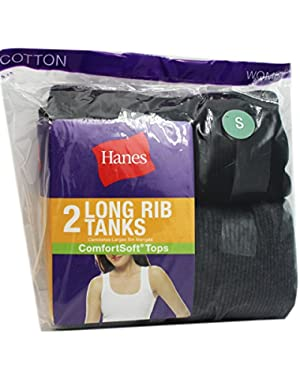 Assorted Hanes 2 Pack Womens Black and Grey Long Rib Tanks (Size Small)