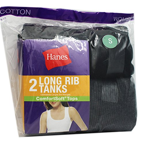 Assorted Hanes 2 Pack Womens Black and Grey Long Rib Tanks (Size Small) Womens Rib Tank
