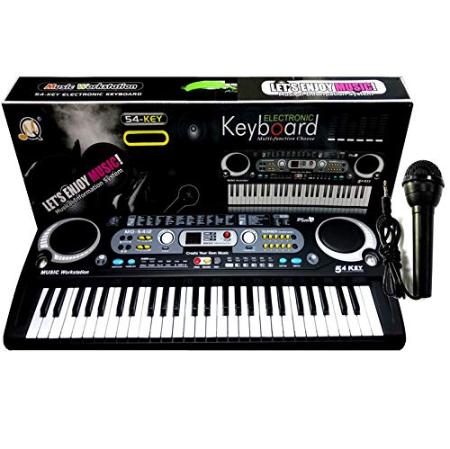 Black Digital 54 Keys Electronic Keyboard & Microphone Mic Electric LED Adult Size Set With Power Adaptor
