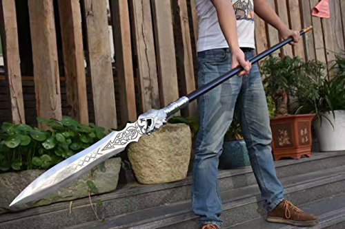 Dragon Lance/China Spear/High Manganese Steel Spearhead,Stainless Steel Rod,Length 86 inch