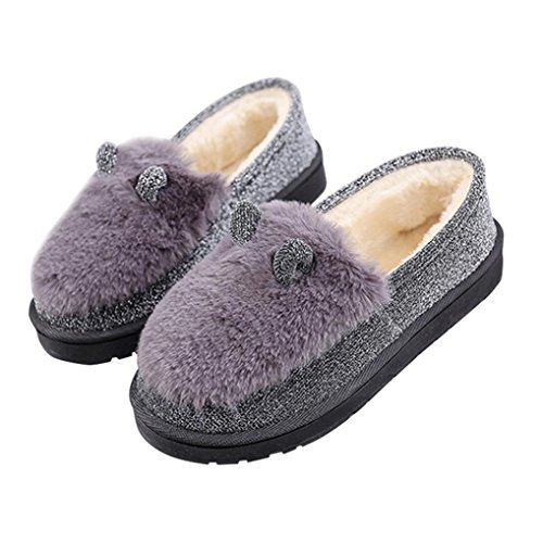 DEESEE(TM) Ladies Women Boots Flat Winter Warm Shoes Short Snow Boots Gray B125Ic0kN