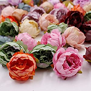 Artificial Flower Fake Flower Heads in Bulk Wholesale for Crafts Peony Silk Flower Head Wedding Decoration Party Festival Home Decor DIY Decorative Wreath Fake Flowers 15 Pieces 5cm 93