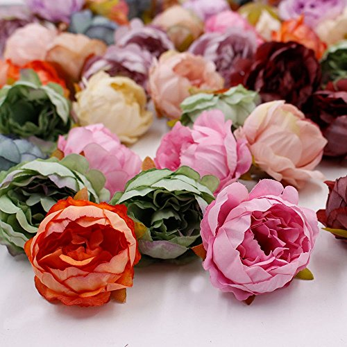 Artificial Flower Peony Flower Head Silk for Wedding Decoration Party Festival Home Decor DIY Decorative Wreath Fake Flowers 15 Pieces 5cm (Colorful) from Artificial Flower