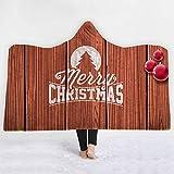 HIGOGOGO Hooded Blanket for Kids, Sleeping Blanket Wood Merry Christmas Print Wrap Throw Wearable Fleece Blanket with Hood Cozy Magic Cloak Children Gift, 50''x60''
