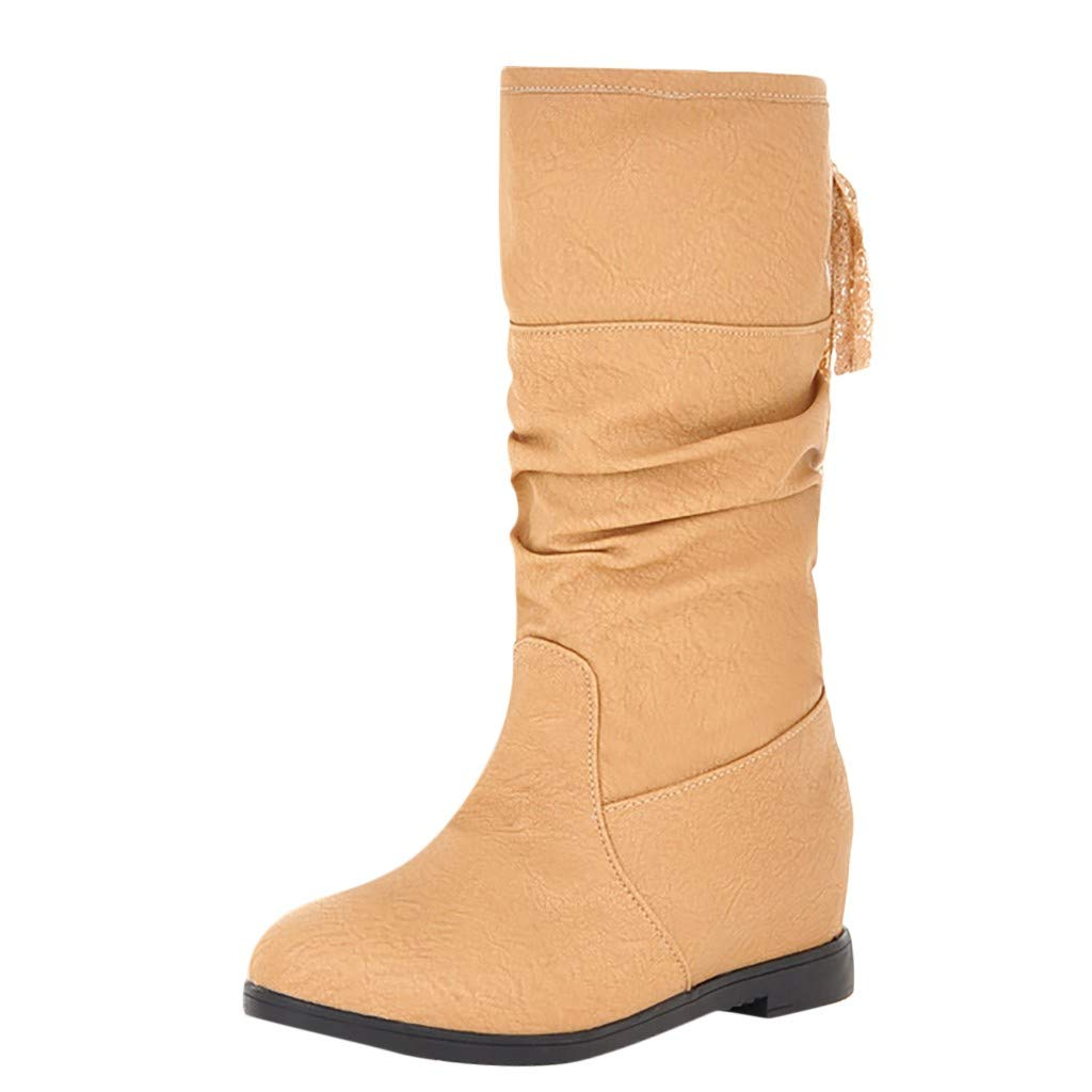Women's Knee High Hidden Wedge Boots Lace Up Round Toe Winter Casual Riding Combat Fashion Boots (US:7.5, Yellow)