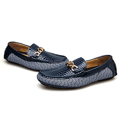 2018 Genuine Leather Metal Pendant Driving Male Loafers Shoes for Men Brand Casual Boat Men Shoes (8 D(M) US, Blue) by JITAI