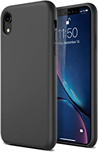 """Maxboost LiquidSkin Pro Case Compatible Apple iPhone XR Case 2018 (6.1"""") Premium Silicone Casing Inner Microfiber Lining Anti-Scratch/Anti-Slip Smooth Matte Surface [Excellent Grip] - Black"""