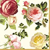 "Paper Luncheon Napkins 40pcs 13""x13"" 4-color Roses White, Yellow, Light & Dark Pink, Decoupage"