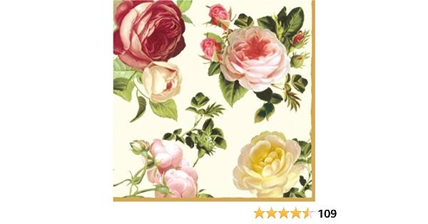 Servilletas de papel para almuerzo aprox primavera verano para el d/ía a d/ía floral fiestas con medall/ón de mariposa. cualquier ocasi/ón 33 x 33 cm
