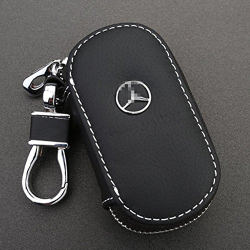 ya-hee-black-premium-leather-car-key-chain-coin-holder-zipper-case-remote-wallet-bag-for-mercedes-be
