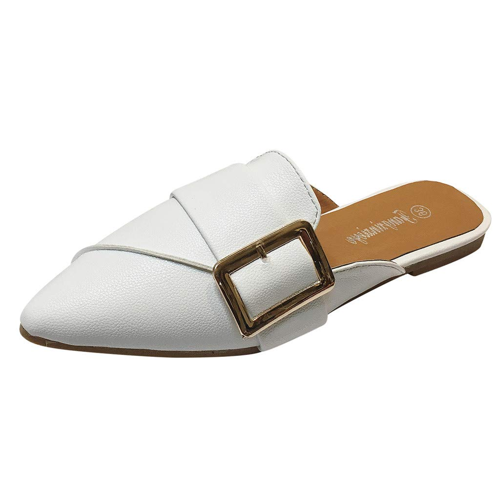 11e77331480 Amazon.com  Women s PU Backless Slip On Loafers Pointed Toe Flat Slippers  Casual Soft Flat Heel Single Shoes Wear Lazy  Clothing
