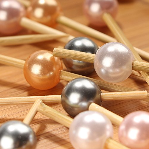 BambooMN 5.9'' Decorative Pearl End Cocktail Fruit Sandwich Picks Skewers for Catered Events, Holiday's, Restaurants or Buffets Party Supplies - 1,000pcs, Assort 96 (Champagne, Pink, White) by BambooMN (Image #3)