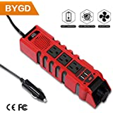 BYGD Car Power Inverter Outlet Adapter 150W 12V DC to 110V AC Converter with 3 Outlets and 2.4A Dual USB Ports Cigarette Lighter for Car Charger Laptop (150W)