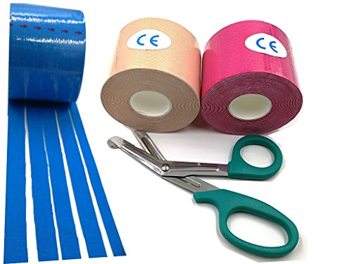 e Uncut Rolls 2inch x 16.5ft from Original Factory + Safe Kinesio Taping Scissor (Blue+Skin_Red) (Obsidian Pool)