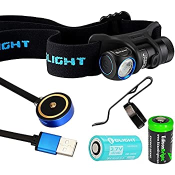 Olight H1R Nova rechargeable 600 Lumens LED headlamp / utility light with RCR123 Li-ion battery , flex magnetic USB charging cable and EdisonBright CR123A back-up Battery bundle (Neutral White LED)