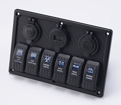 BANDC Marine Grade Boat Car Auto ATV Blue Led Lamp 6 gang Rocker Switch Panel & 12V/24V Power outlet socket & Four USB Charger ports & Voltage Meter with 3pcs 15A Fuses by BANDC (Image #5)