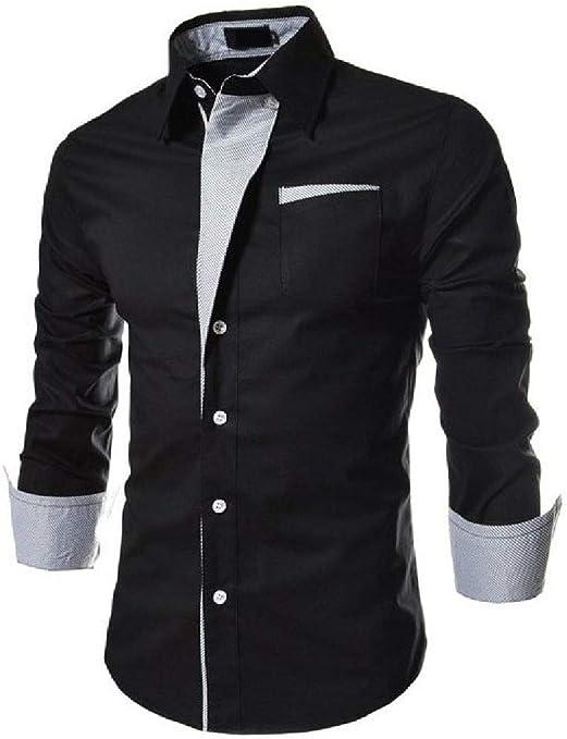 Winwinus Mens Lapel Long Sleeve Plaid Denim Plus Size Button Top Tshirt Shirt