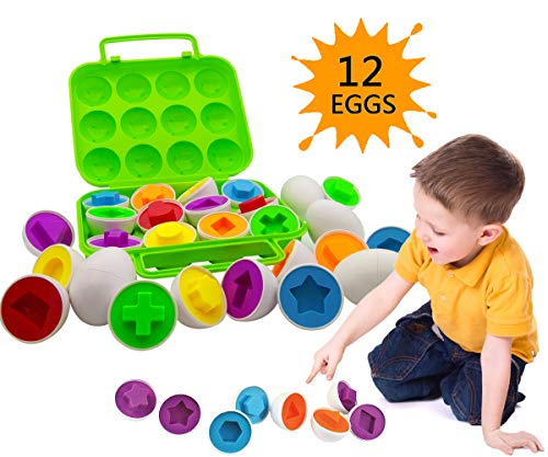 Beakabao 12pcs Color and Shape Matching Egg Set-Montessori Toddler Education Classification Toys for Fine Motor Skills of The Fingers Muscles, Preschool Children Smart Puzzles Toys for Easter Gifts.
