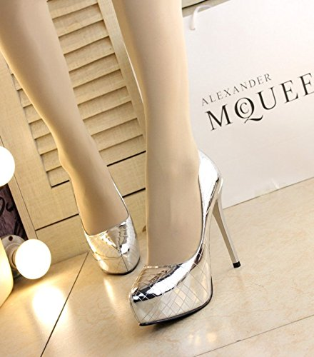 MDRW Heels Shoes Silver Elegant A Olici Fine Spring Leisure Shoes 12Cm Tip Wedding With 34 Lady Waterproof Leather Work 1qxxdT