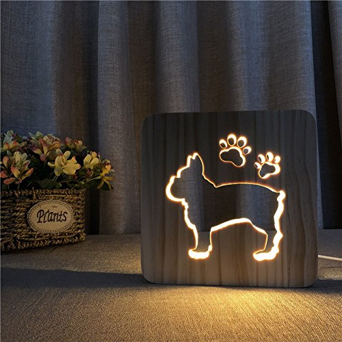 3D Night Light Dog Creative Wood Small Table Solid Wood Lamp Warm White...