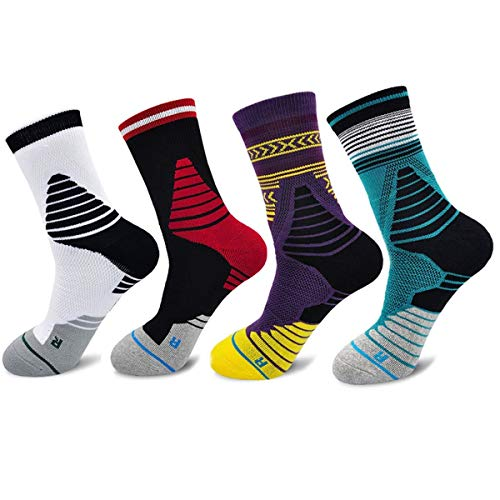 Protective Compression Socks for Men Dri-Fit Athletic Cushioned Crew Sock Basketball Running Sports Stocking (4 Pairs)