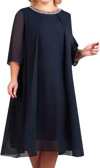 Lenfesh Vestido Gasa de Fiesta Mujer Vestido Lentejuela Mujer ...