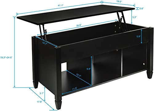 Coffee Table Lift Top Wood Home Living Room Modern Lift Top Storage Coffee Table w/Hidden Compartment Lift Tabletop Furniture Black