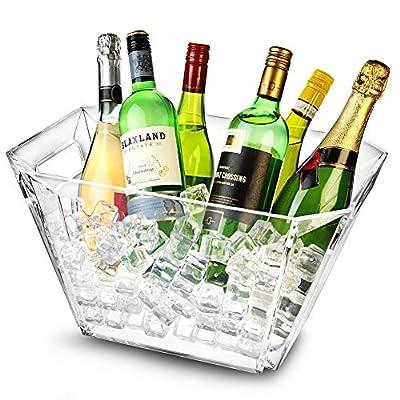 bar@drinkstuff Grand seau à glace 9.5 Ltr de capacité, en Acrylique ,forme carré,ultra résistant .Seau à Champagne , Vin…