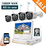 ONWOTE All-in-one 1080P HD NVR Wireless Home Security Camera System Outdoor with 10.1' LCD Monitor, 1TB Hard Drive and 4 Night Vision IP Surveillance Camera (Built-in Router, Auto-Pair)