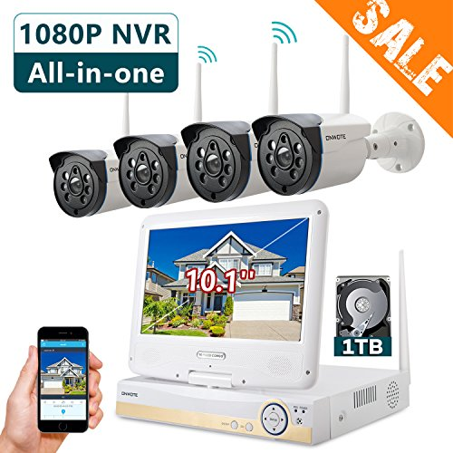 Outdoor Monitor (ONWOTE All-in-one 1080P HD NVR Wireless Home Security Camera System Outdoor with 10.1