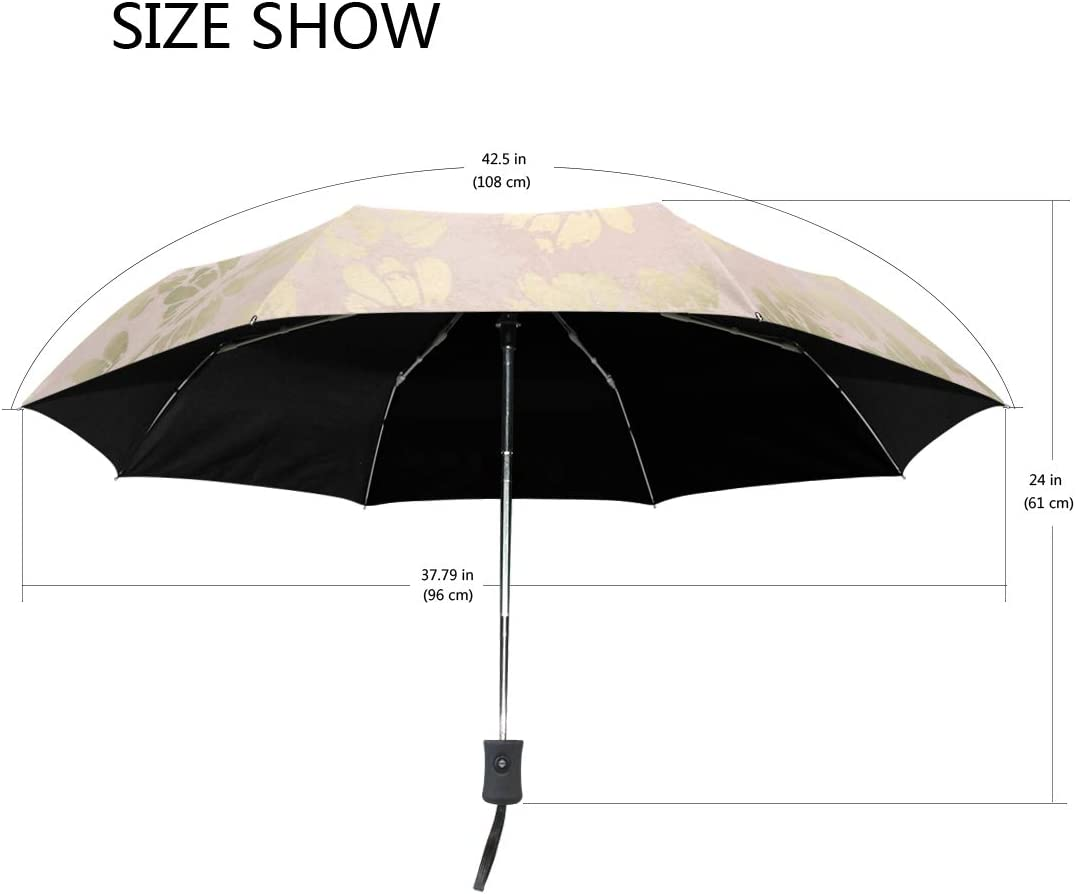 Advanced Rose Gold Pink fashion print cute Windproof automatic tri-fold umbrella sun UV protection Sun umbrella