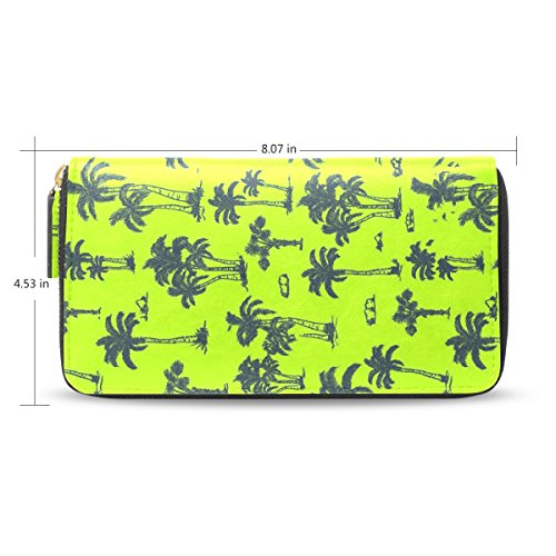 Womens Abstract Coconut Trees Palm Pattern Long Wallet & Purse Case Card Holder