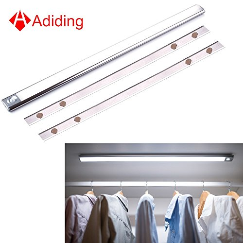 Adiding Under Cabinet Lighting Bar, Wireless Closet LED Light Bar PIR Motion Sensor Activated - Elliptical Shape Design - Ultra Slim  Portable Anywhere for Kitchen Counter Wardrobe Titanium-24 inch