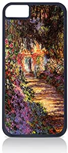 Claude Monet's Pathway in a Garden- Case for the Apple Iphone 5-5s Universal- Hard Black Plastic with Inner Soft Black Rubber Lining-Snap On Case