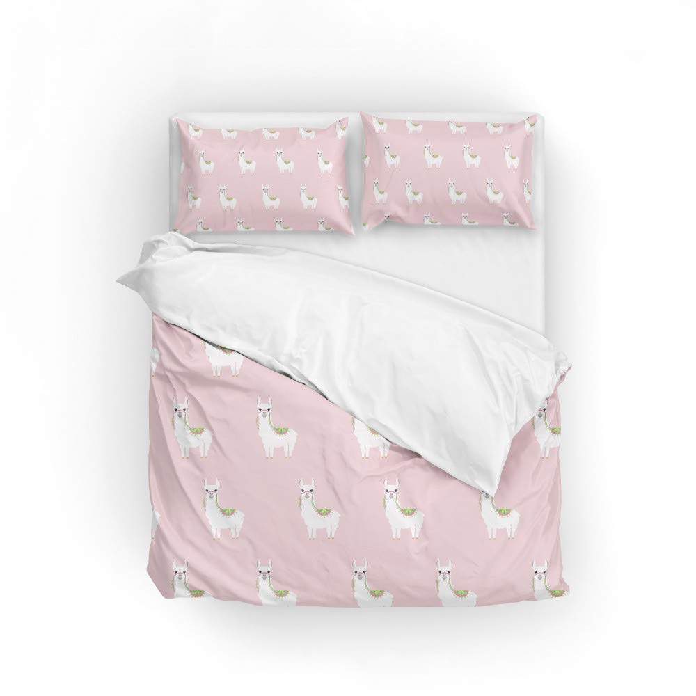 2pcs Duvet Cover Set Twin Soft Polyester Cute Llamas Printed Bedding Comforter Cover with 1 Pillow Shams