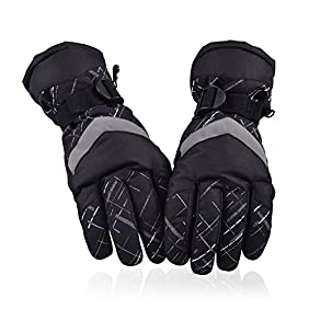 HUO ZAO Winter Snow Ski Gloves for Mens Warm Waterproof Winter Outdoor Cycling Snowmobile M