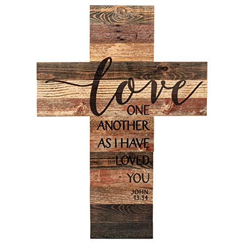 P. Graham Dunn Love One Another As I Have Loved You Distressed 20 x 14 Wood Wall Art Plaque Cross