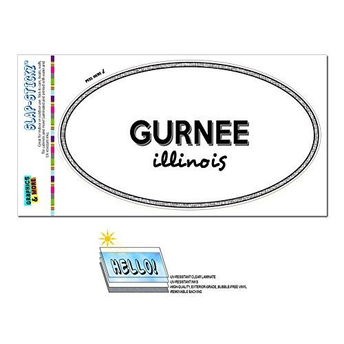 Graphics and More Euro Oval Window Bumper Laminated Sticker Illinois IL City State Gle - Mac - (City Of Gurnee Il)