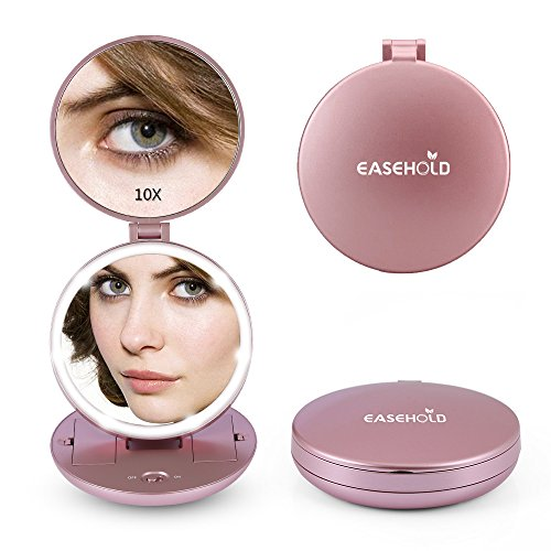 Easehold 1X/10X Folding Travel Handheld Mirror with Lights, Led Lighted Makeup Vanity Magnifying Mirror , Rose Gold (Travel Plastic Mirror)