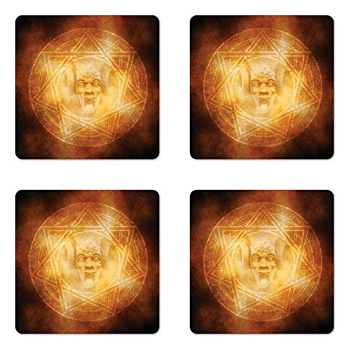 Ambesonne Horror House Coaster Set of Four, Demon Trap Symbol Logo Ceremony Creepy Scary Ritual Fantasy Paranormal Design, Square Hardboard Gloss Coasters for Drinks, Orange by Ambesonne
