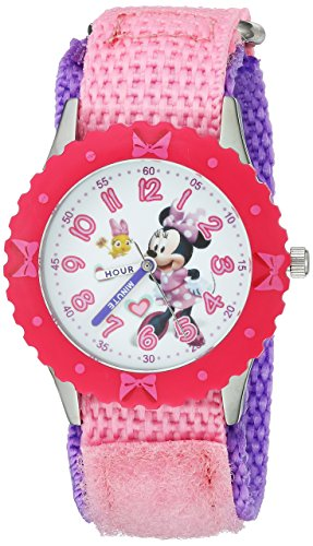 Disney Girl's 'Minnie Mouse' Quartz Stainless Steel and Nylon Casual Watch, Color:Pink (Model: WDS000161)